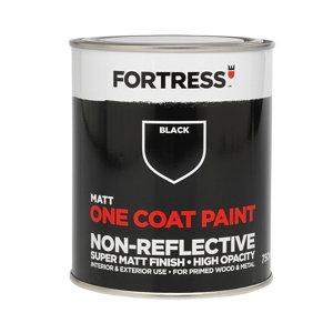 Fortress One coat Black Matt Metal & wood paint  0.75L