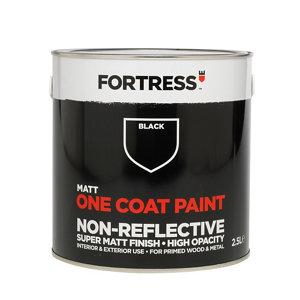 Fortress One coat Black Matt Metal & wood paint  2.5L