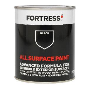 Image of Fortress Black Matt Multi-surface paint 750ml