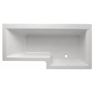 Cooke & Lewis Adelphi Supercast acrylic Right-handed L-shaped Shower Bath (L)1675mm (W)850mm