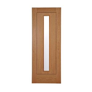 Image of 1 panel Patterned Glazed Flush Hardwood LH & RH Internal Door (H)1981mm (W)686mm
