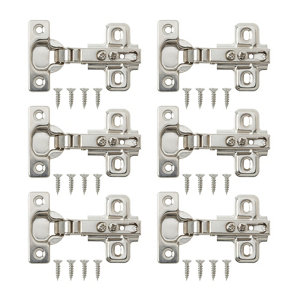 Image of B&Q Nickel-plated Metal Unsprung Concealed hinge (L)26mm Pack of 6
