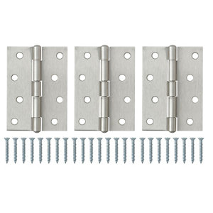 Satin Nickel-plated Metal Butt Door hinge (L)100mm  Pack of 3