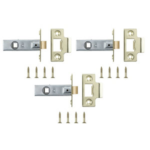 Image of Brass-plated Metal Tubular Mortice latch (L)64mm Pack of 3