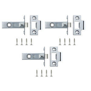 Image of Chrome-plated Chrome effect Metal Tubular Mortice latch (L)64mm Pack of 3