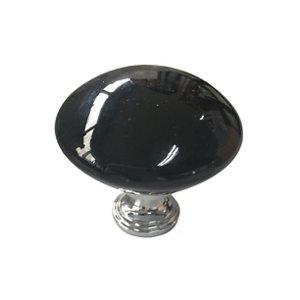Image of Black Chrome effect Ceramic & zinc alloy Furniture Knob (Dia)45mm