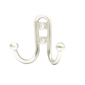 Image of B&Q Chrome effect Zinc alloy Double Hook (H)36mm