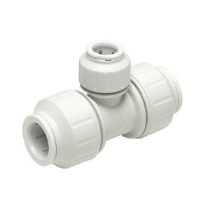 Image of JG Speedfit White Push-fit Reducing Pipe tee (Dia)15mm x 15mm x 10mm