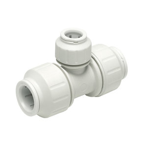 Image of JG Speedfit White Push-fit Reducing Pipe tee (Dia)22mm x 15mm x 15mm
