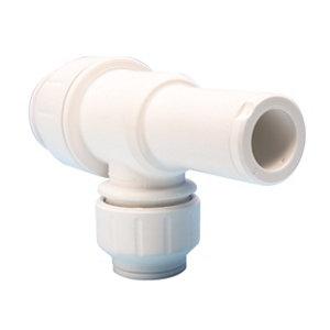 Image of JG Speedfit White Push-fit Reducing Pipe tee (Dia)22mm x 10mm x 22mm