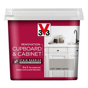 V33 Renovation Loft grey Satin Cupboard & cabinet paint  750ml