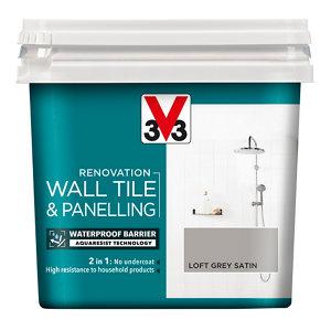 V33 Renovation Loft grey Satin Wall tile & panelling paint  750ml