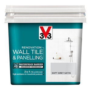 V33 Renovation Soft grey Satin Wall tile & panelling paint  750ml
