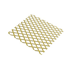 Gold effect Anodised Aluminium Perforated Sheet  (H)500mm (W)250mm (T)0.8mm