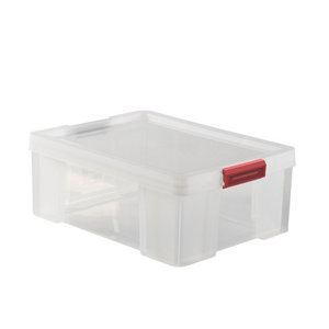 Sundis Clip & Store Heavy duty Transparent Rectangular 27L Polypropylene (PP) Stackable Storage box & Integrated lid