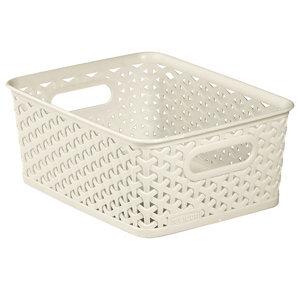 My style White rattan effect 8L Plastic Nestable Storage basket (H)100mm (W)197mm