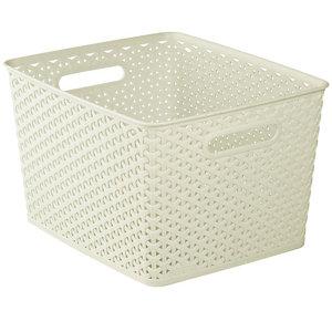 My style White rattan effect 18L Plastic Nestable Storage basket (H)220mm (W)300mm