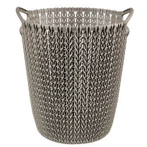 Image of Curver Harvest brown Knit effect Plastic Circular Kitchen bin 7L