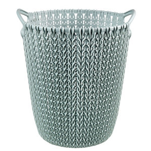 Image of Curver Misty blue Knit effect Plastic Circular Kitchen bin 7L