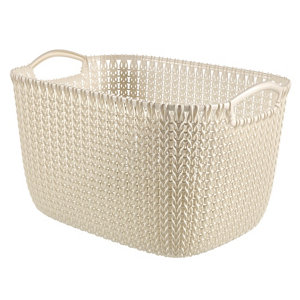 Image of Knit collection Oasis white 19L Plastic Storage basket (H)230mm (W)400mm