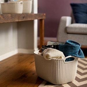 Image of Knit collection Misty blue 19L Plastic Storage basket (H)230mm (W)400mm