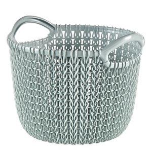 Image of Knit collection Misty blue 3L Plastic Storage basket (H)230mm (W)190mm