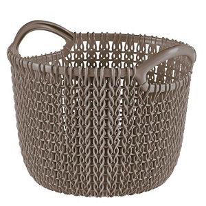 Image of Knit collection Harvest brown 3L Plastic Storage basket (H)230mm (W)190mm