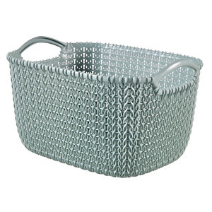 Image of Knit collection Misty blue 8L Plastic Storage basket (H)170mm (W)300mm