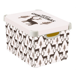 Image of Curver Deco box Medium duty Cream & Brown Reindeer 22L Polyethylene (PE) Large Stackable Non-foldable Nestable Storage b