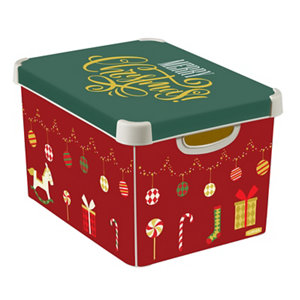 Image of Curver Deco box Medium duty Red & Green Xmas Decorations 22L Polyethylene (PE) Large Stackable Nestable Storage box & Li