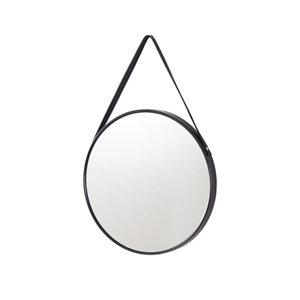 Black Matt Round Any room Mirror (H)425mm (W)425mm