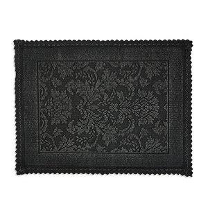 Marinette Saint-Tropez Platinum Black Cotton Floral Bath mat (L)500mm (W)700mm
