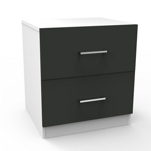 Image of Darwin Gloss anthracite & white 2 Drawer Bedside chest (H)548mm (W)500mm (D)420mm