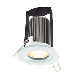 Diall Gloss White Non-adjustable LED Fire-rated Cool white Downlight 5W IP65