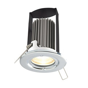Diall Chrome effect Non-adjustable LED Fire-rated Warm white Downlight 5W IP65