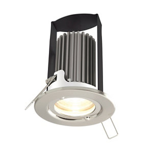 Diall IP65 Brushed Nickel effect Non-adjustable LED Fire-rated Downlight 5W
