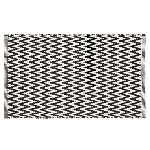 Image of Colours Haillie Chevron Black & white Cotton Door mat (L)0.75m (W)0.45m