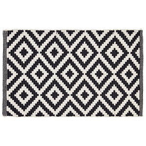 Image of Colours Harrieta Diamond Black & white Cotton Door mat (L)0.75m (W)0.45m
