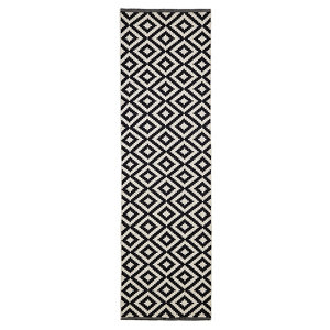 Image of Colours Harrieta Geometric Black & white Runner (L)2m (W)0.6m