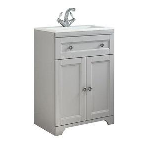 Cooke & Lewis Chadleigh Matt Light grey Freestanding Vanity unit & basin set  (W)610mm