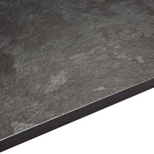 Image of 12.5mm Exilis Lave black Granite effect Square edge Laminate Worktop (L)2.4m (D)425mm