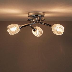 Image of Kalang Brushed Chrome effect 3 Lamp Bathroom Ceiling light