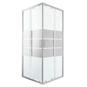 GoodHome Beloya Square Mirror Shower Shower enclosure with Corner entry double sliding door (W)900mm (D)900mm