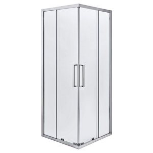 Cooke & Lewis Zilia Square Clear Shower Shower enclosure with Corner entry double sliding door (W)760mm