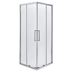 Cooke & Lewis Zilia Square Clear Shower Shower enclosure with Corner entry double sliding door (W)800mm