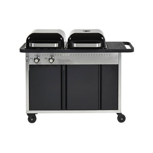 Image of GoodHome Rockwell Black Charcoal & gas Hybrid barbecue