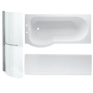 Image of Cooke & Lewis Adelphi P-shaped Shower Bath panel & screen set (L)1675mm (W)850mm
