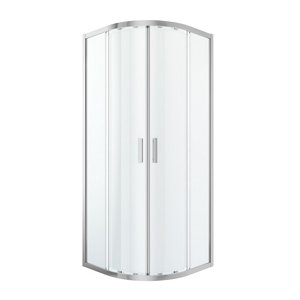 GoodHome Beloya Universal Quadrant Clear Shower Enclosure & tray with Corner entry double sliding door (W)800mm (D)800mm