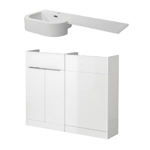 Cooke & Lewis Ardesio Gloss White Freestanding Vanity unit & basin set (H)820mm