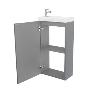 GoodHome Imandra Gloss Grey & white Freestanding Vanity unit & basin set